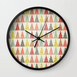 Whimsical Christmas Trees Wall Clock