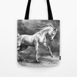 Running white horse - equine art Tote Bag