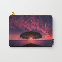 Purple Coastal Sunset with Lonely One Tree Hill color photograph / photography Carry-All Pouch