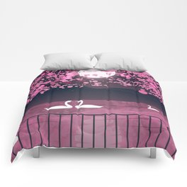 Swans and Cherry Blossoms Comforters