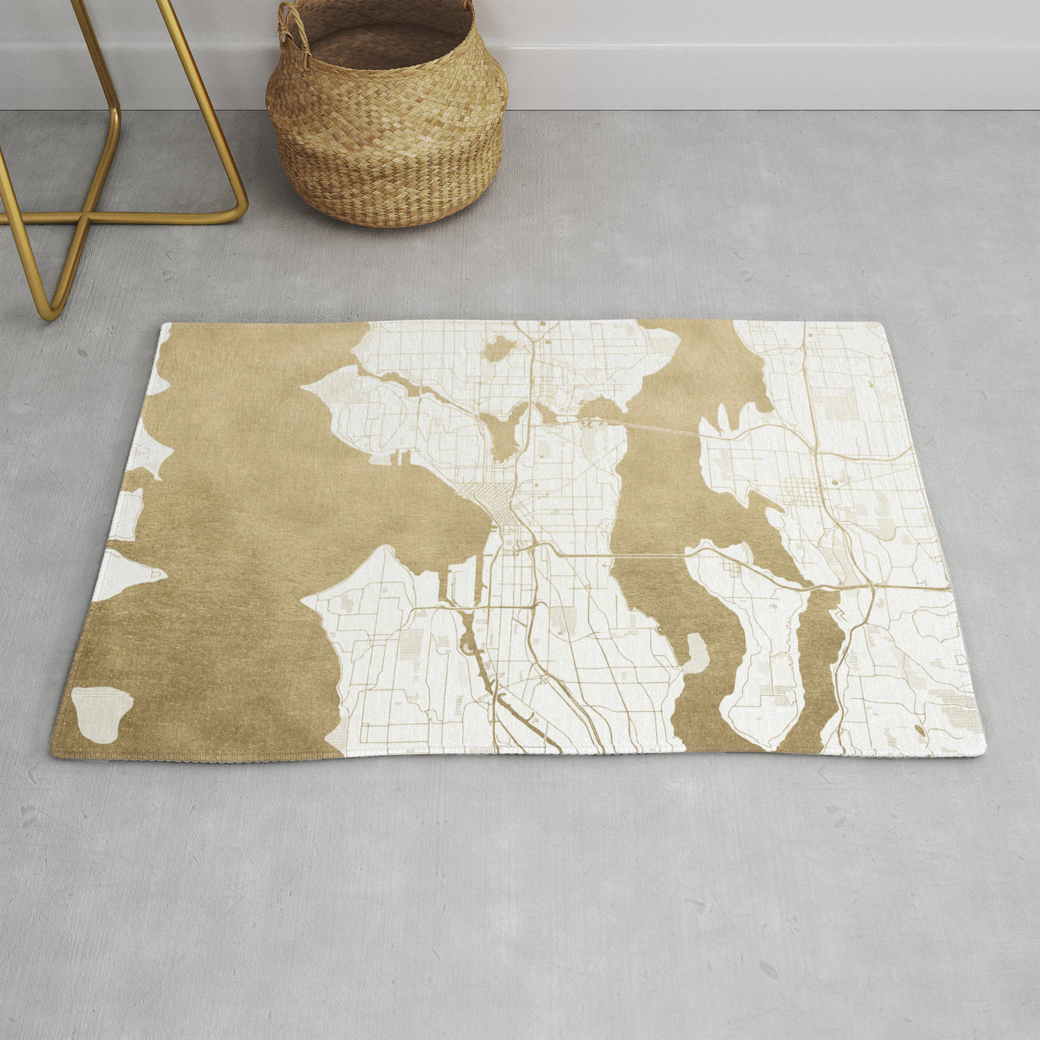 Seattle White And Gold Map Rug By