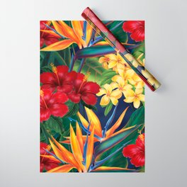 Tropical Paradise Hawaiian Floral Illustration Wrapping Paper