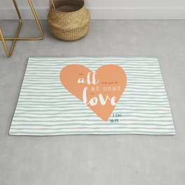 """""""All in Love"""" Hand-Lettered Bible Verse Rug"""