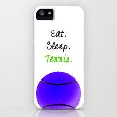 Eat. Sleep. Tennis.  (Black with Pink) iPhone (5, 5s) Slim Case