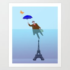 Floating World 1 - Umbrella Over Paris Art Print