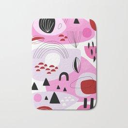 Abstract Shapes Pink Bath Mat