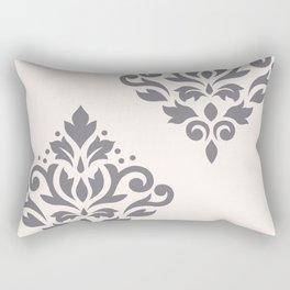 Scroll Damask Art I Grey on Cream Rectangular Pillow