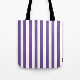 Narrow Vertical Stripes - White and Dark Lavender Violet Tote Bag