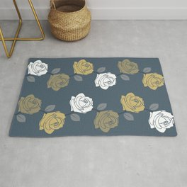 Rose Vine Pattern Blues Golds White Rug
