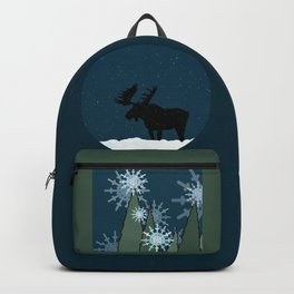 Moose in the Snowy Forest Backpack