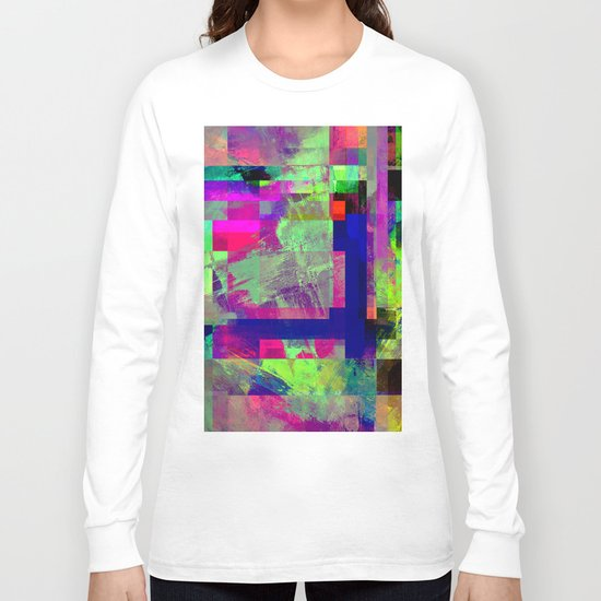 Pastel Geometry X - Abstract, goemetric, pastel coloured, textured artwork Long Sleeve T-shirt