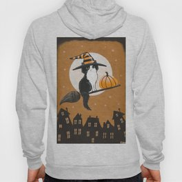 Black and White Witch Cat Hoody