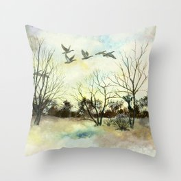 Winter Canada Geese Throw Pillow