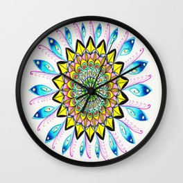 Blue Spiritual Feather Mandala Wall Clock