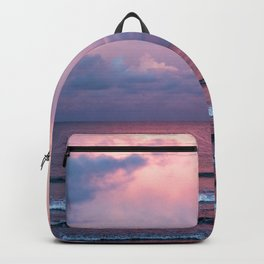 Pink sunset at the beach Backpack
