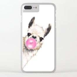Bubble Gum Sneaky Llama Clear iPhone Case