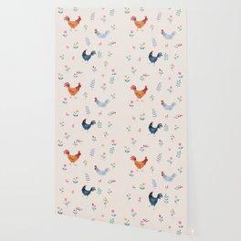 Little Hens (ivory) Wallpaper