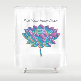 Feel Your Inner Peace_Blue Rainbow Lotus Shower Curtain