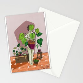 boys with love for plants illustration painting Stationery Cards