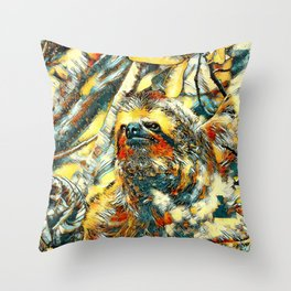 AnimalArt_Sloth_20171201_by_JAMColorsSpecial Throw Pillow