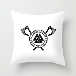 Norse Axe - Valknut Throw Pillow