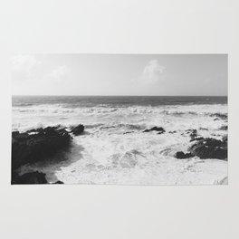 Vintage film style Black and white coast. Rug