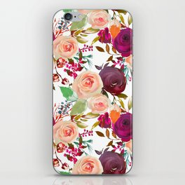 Modern fuchsia pink coral green watercolor roses iPhone Skin