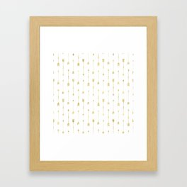 White And Gold Glitter Arrow Pattern Framed Art Print
