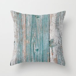 Old wood vintage background Throw Pillow