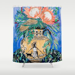 Cat Walk: Protea and Banksia Bouquet Floral Still Life with Greek Urn featuring Woman Walking Cats Shower Curtain