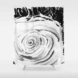 Roses For A Romantic Heart, Black and White Shower Curtain