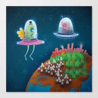 aliens Canvas Prints featuring aliens by Azbeen