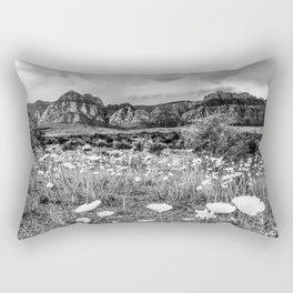 Wildflower Bloom | Black and White Vintage Red Rocks Las Vegas National Park Floral Landscape Rectangular Pillow