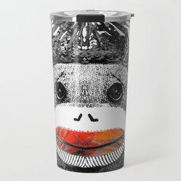 Sock Monkey Art In Black White And Red - By Sharon Cummings Travel Mug