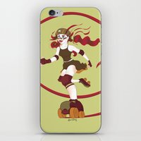roller derby iPhone & iPod Skins featuring Roller Derby Kicks Ass by Luckyirishlass