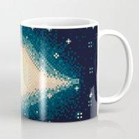8bit Mugs featuring Sombrero Galaxy M104 (8bit) by sp8cebit