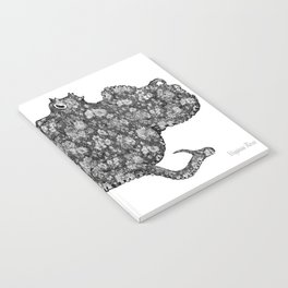 Black and White Floral Octopus  Notebook