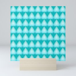 Pattern of white hearts and azure flowers on a blue background. Mini Art Print