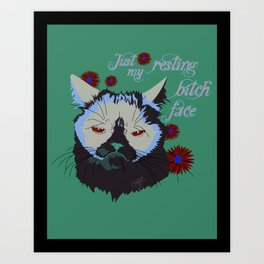 Resting Cat Face Art Print