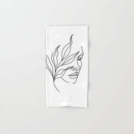 Abstract face with flowers line drawing. Portrait minimalistic style Hand & Bath Towel