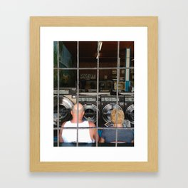 laundromat couple Framed Art Print
