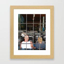 laundromat couple Framed Art Print