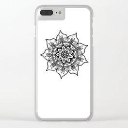 BW Floral Mandala Clear iPhone Case