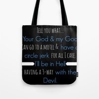 true blood Tote Bags featuring True Blood - Pam Quote by macnicolae