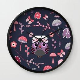 Baby owl, lizards and butterflies Wall Clock
