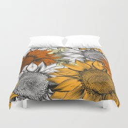 Beautiful pattern from hand drawn sunflowers Duvet Cover