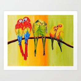 Snuggly Birds Art Print