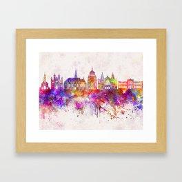 Cluj-Napoca skyline in watercolor background Framed Art Print