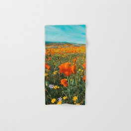 California Wildflower Poppy Superbloom Hand & Bath Towel