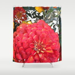 Garden Blooms - Red Shower Curtain